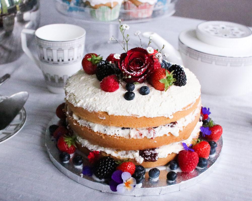 Rustic naked victoria sponge cake recipe