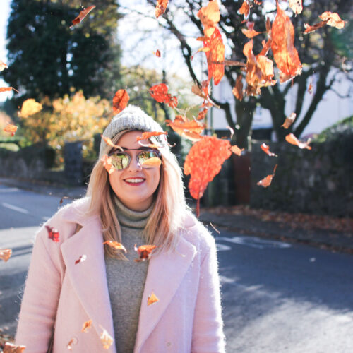 pink coat winter autumn outfit