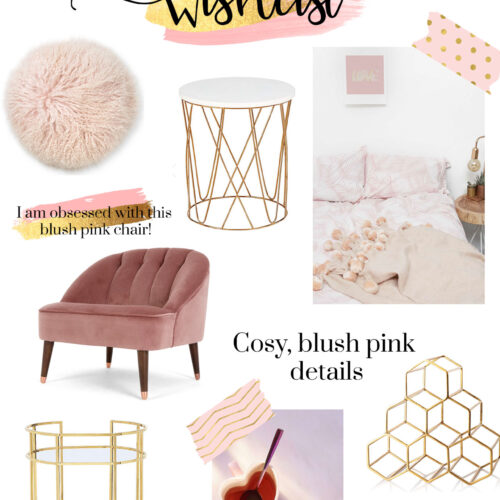 spring homeware wish list. blush pink, gold interiors