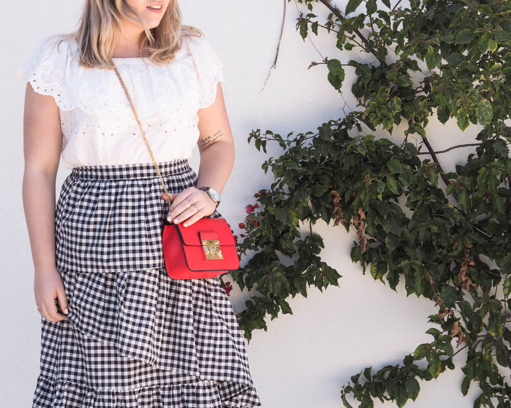 gingham skirt spring style outfit