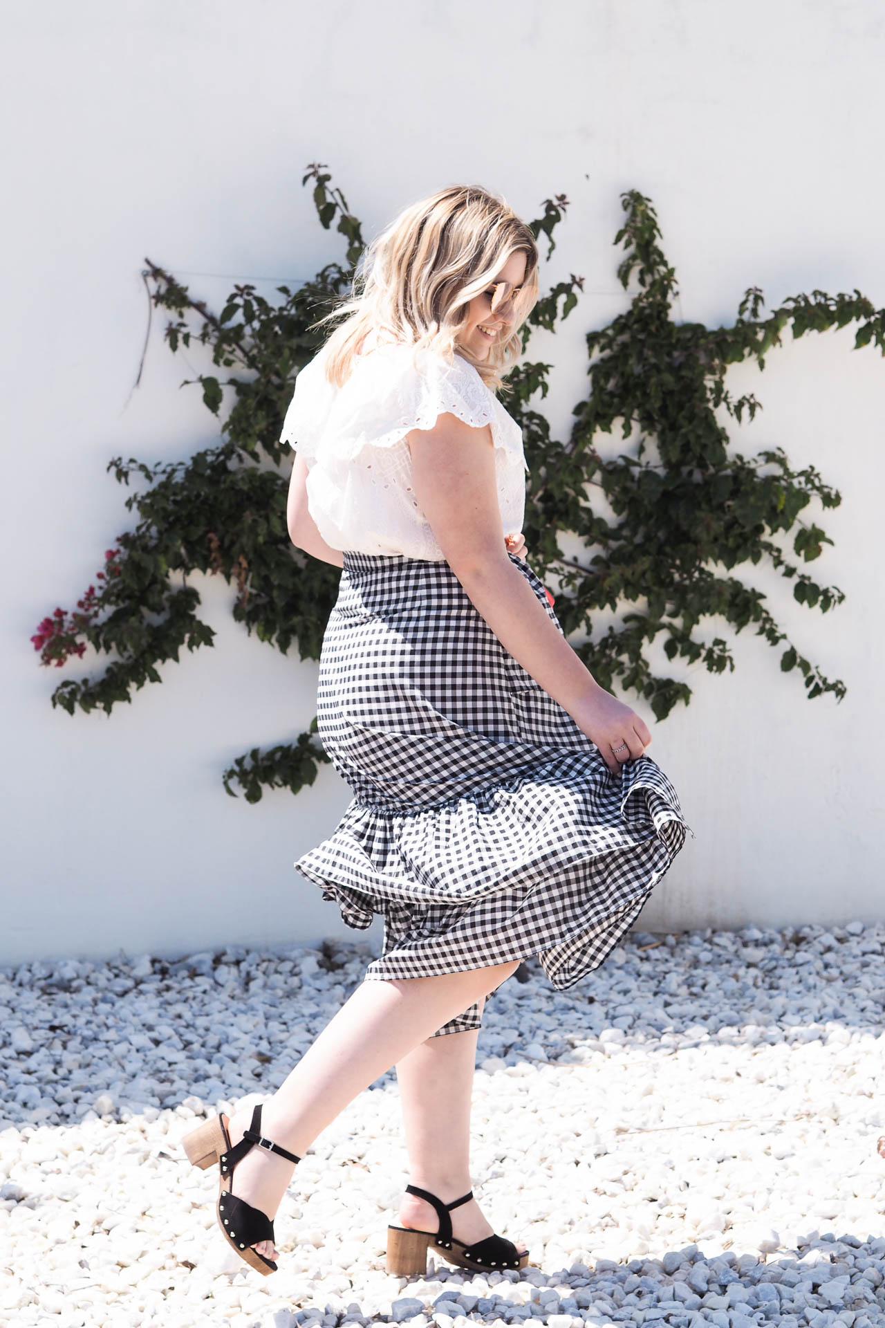 gingham skirt outfit spring style